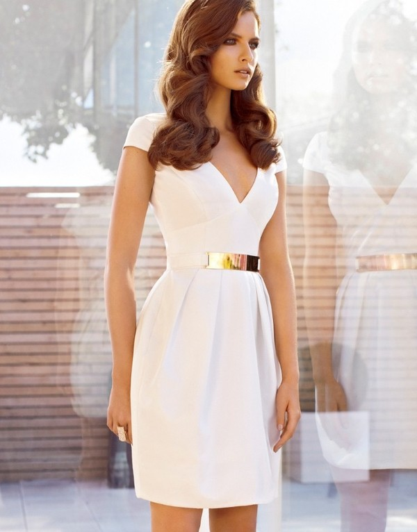 dress white dress sexy dress long dress evening dress bodycon dress belt tailoring short sleeve tight jewels white gold little white dress lwd