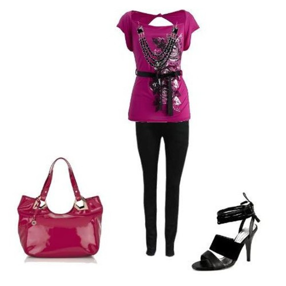 bag pink bag shirt high heels black  high heels leggings pink shirt