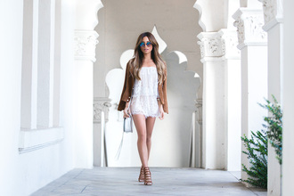 my white t blogger romper jacket shoes