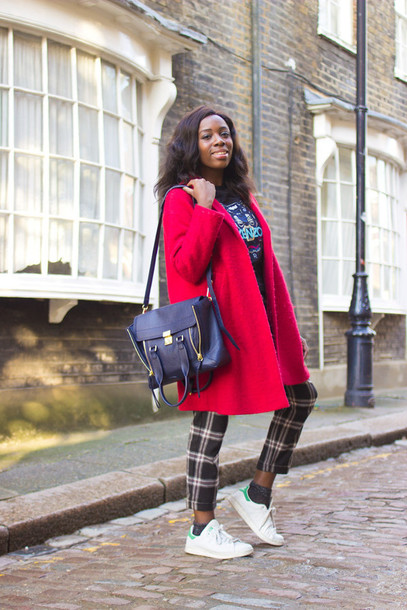 i want you to know blogger sweater pants red coat satchel bag kenzo