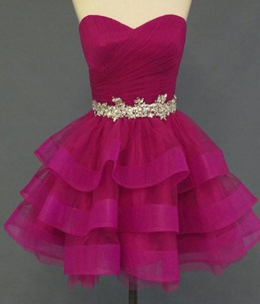 7742b19217 Real Photo Homecoming Dresses 2016 8th Grade Graduation Dress Fuchsia  Crystal Pleats Ruched Sweetheart Backless Satin ...