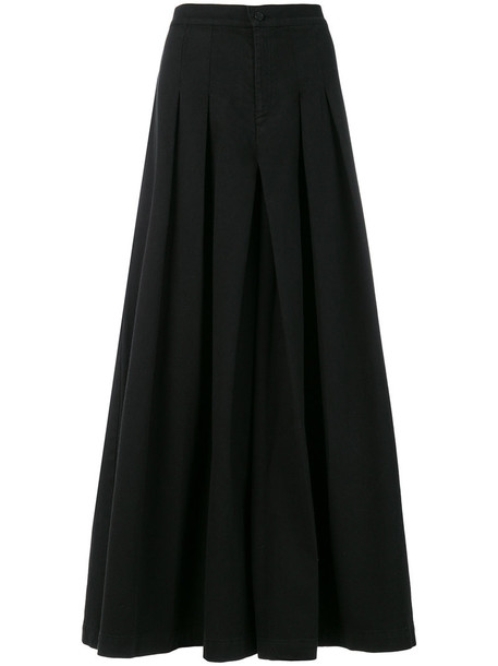 Labo Art skirt maxi skirt maxi pleated women cotton black wool