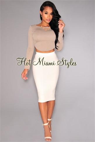 White Ribbed Knit Skirt