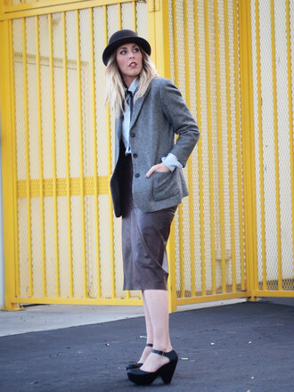b. jones style blogger hat blazer pencil skirt