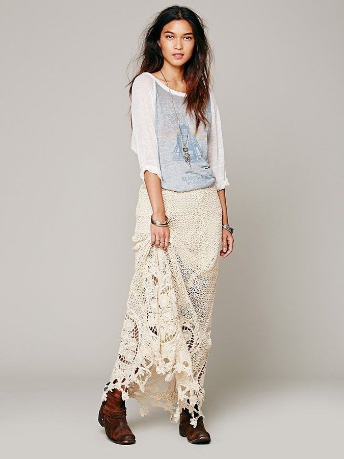 Free people crochet lace mi amore maxi skirt sold out