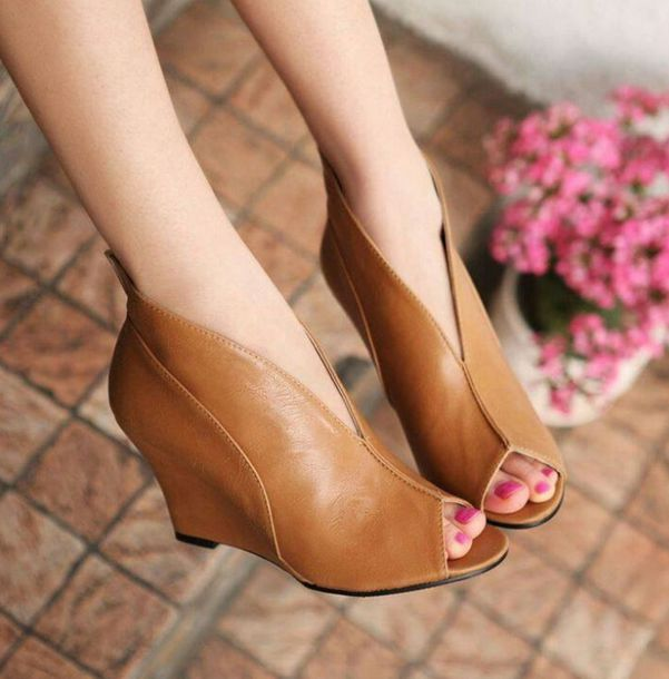 5f203c97354 shoes wedge booties peep toe heels leather wedges ankle boots modern leather  wedges peep toe boots