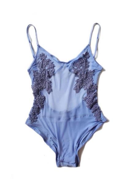 underwear blue bodysuit sheer blue cute flowers sheer lingerie