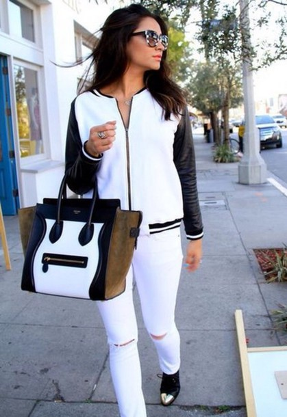 bag shay mitchell pretty little liars jacket celine celine bag black and white celebrity style white bomber jacket sunglasess destroyed skinny jeans white pants baseball jacket teddy shoes