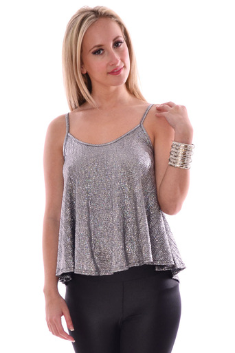 Gerry Metallic Strape vest Top In Sliver - Pop Couture