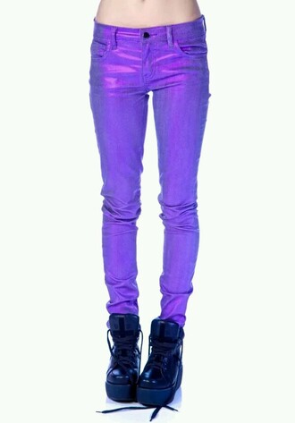 jeans purple shiny skinny jeans pants scene kawaii