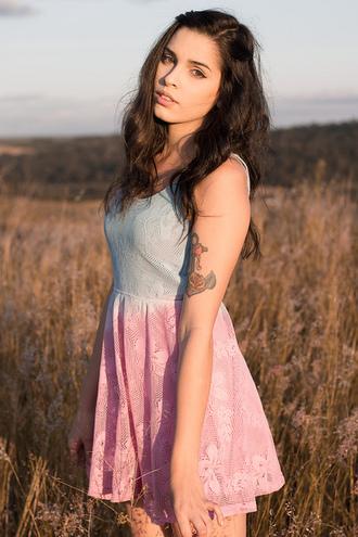 dress summer girl tie dye pink blue