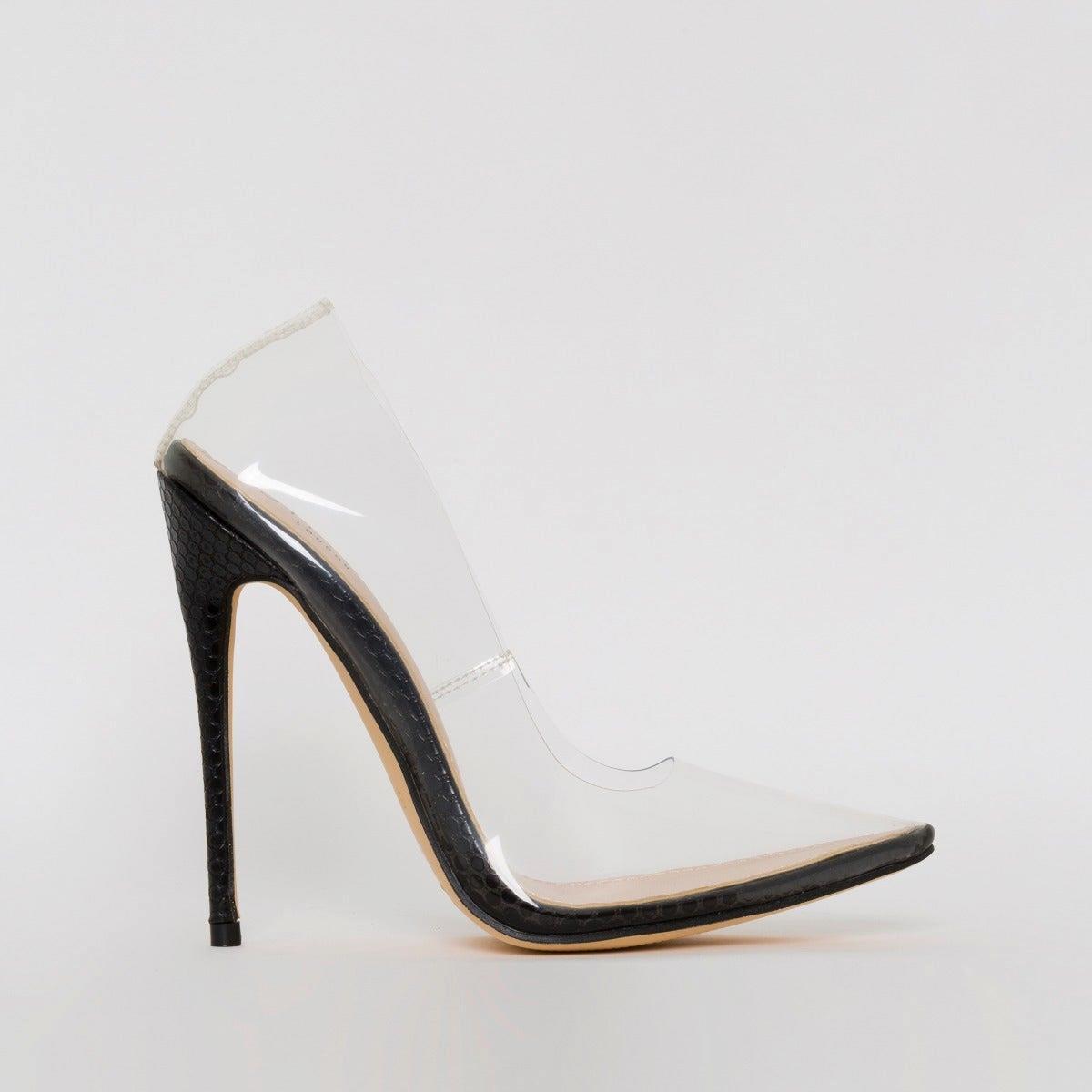 Simone Black Snake Print Clear Stiletto Court Shoes