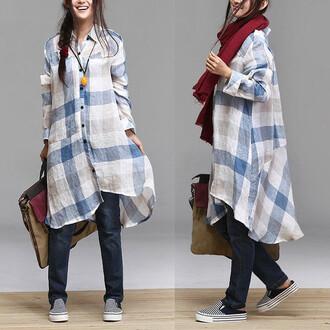 women dress plus size dress linen dress t-shirt dress
