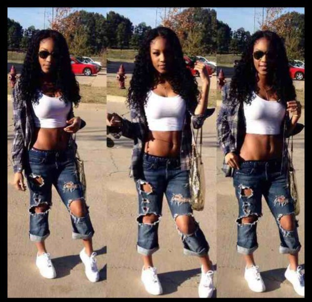 pants, black girls killin it, curly hair, white shoes, jeans ...