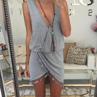 dress grey grey dress fringed dress fringe he fringe hem dress fringe boho boho dress fringe boho dress sabo skirt