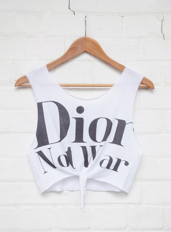 Dior Not War Tied Crop Top White