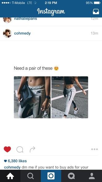 pants nike walking cute beautiful love grey gray nike pants excersise