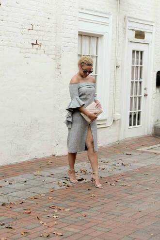 fashionably lo blogger shoes bag sunglasses grey dress slit dress clutch off the shoulder sandals