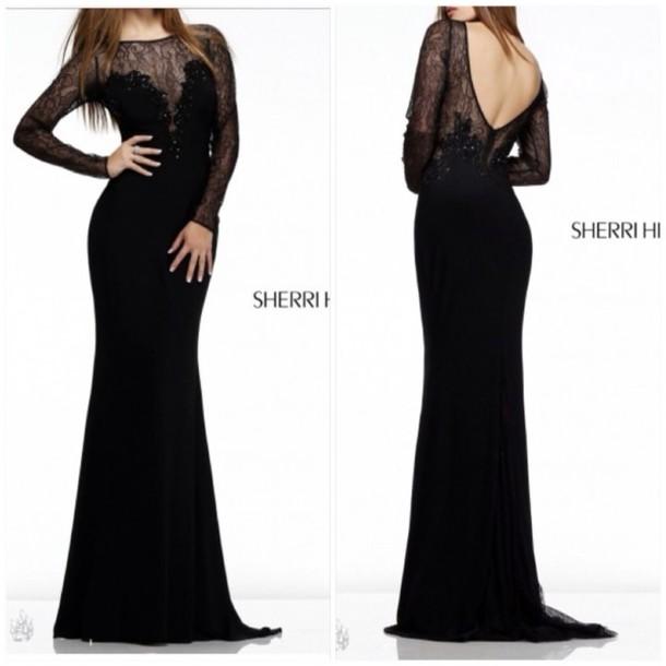 dress black sherri hill prom dress black dress long sleeves elegant black prom dress gown evening dress formal dress