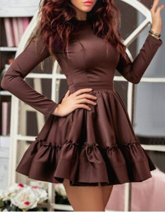 dress brown classy trendy long sleeves women's stylish long sleeve solid color round neck a-line dress cool fashion style