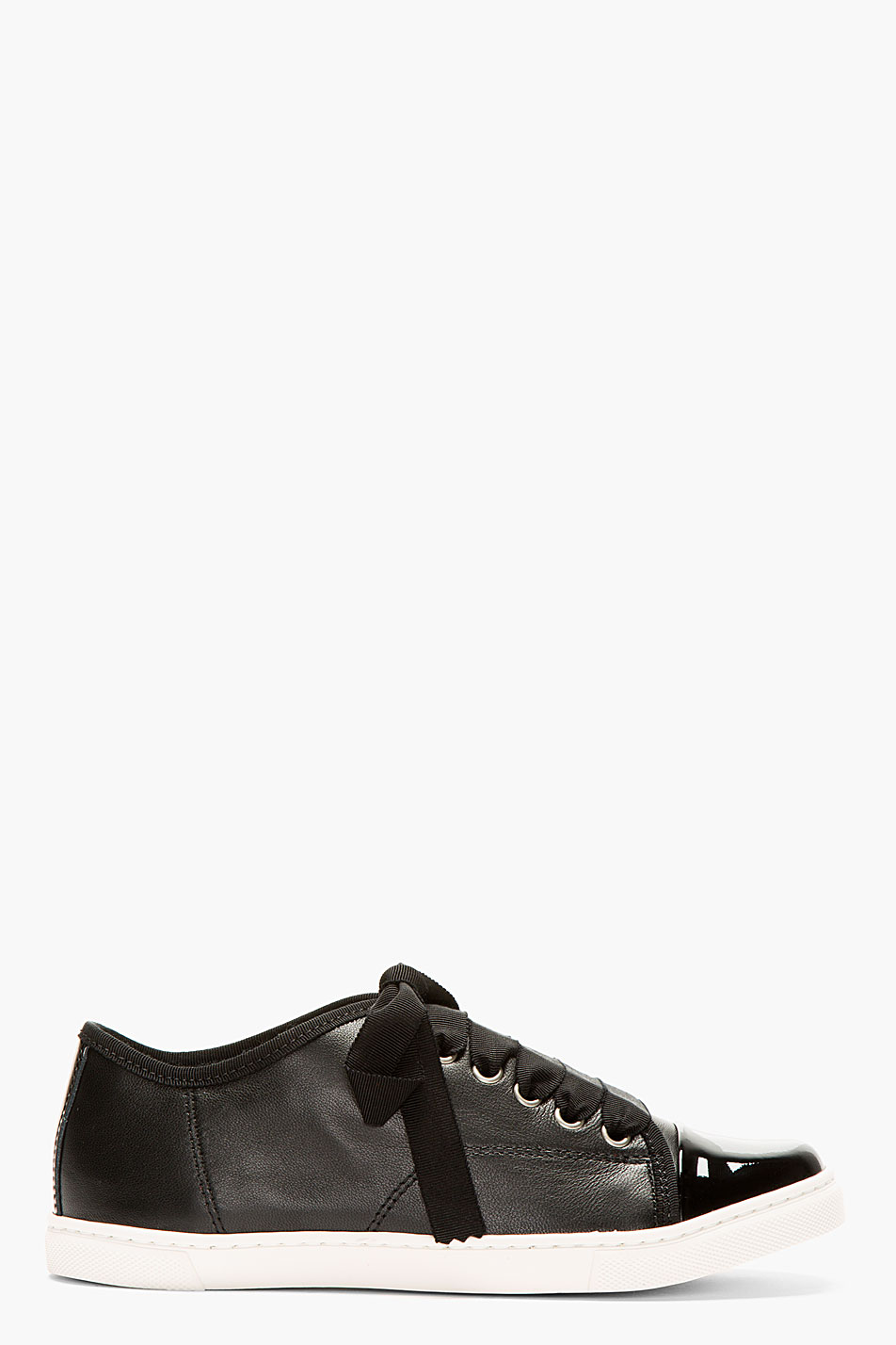 Lanvin black leather ribbon laces sneakers