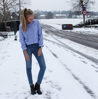 shirt blue shirt top jeans denim boots black boots shoes watch winter outfits winter boots winter outerwear winter out