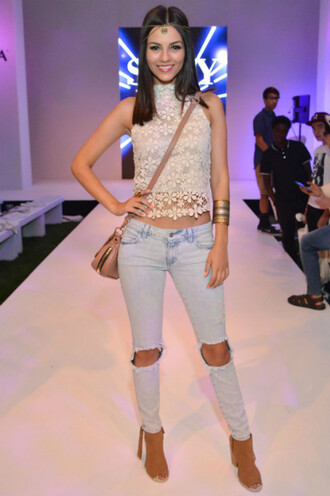 jeans top ripped jeans victoria justice sandals lace top shoes