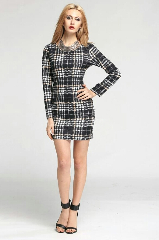 Lethalbeauty ? plaid long sleeve mini dress
