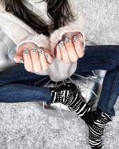 nail polish,tumblr,animal print,zebra print,zebra,printed boots,ankle boots,pointed boots,denim,jeans,blue jeans,skinny jeans,sweater,white sweater