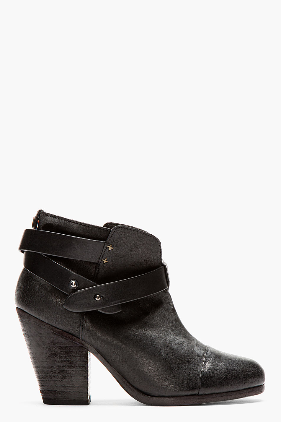 rag and bone black wraparound strap harrow boots