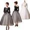 New a line tea length black prom dresses 3/4 sleeves empire waist crew sheer net lace up elegant formal ball gowns appliques