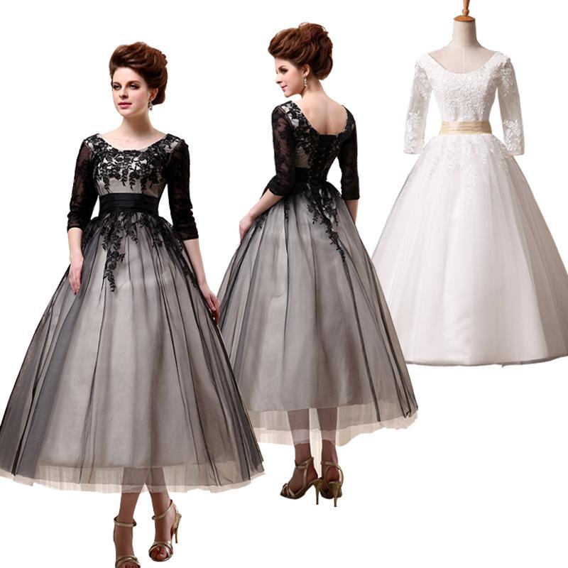 New A Line Tea Length Black Prom Dresses 3/4 Sleeves Empire Waist ...