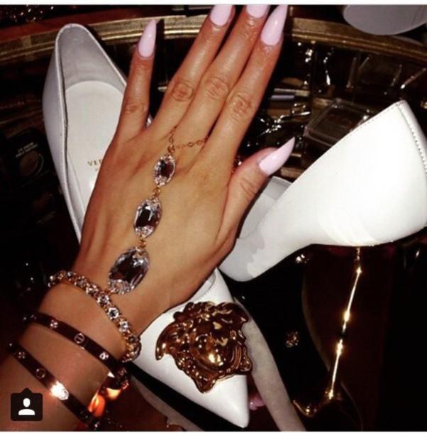 jewels chain bracelets diamonds rhinestones versace luxury nails chain hand chain hand hand bracelet crystal ring glamour
