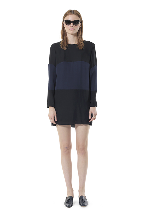 Silk Colorblock Navy & White Stripe Dress