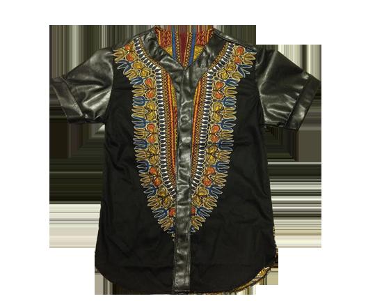 African Wax print Baseball Shirt -M   Toure