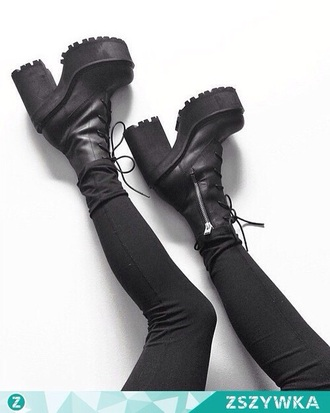 shoes black shoes chunky boots grunge tumblr black leather chunky heels grunge shoes tumblr outfit black heels