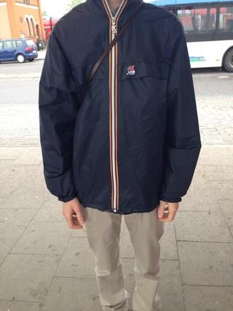 jacket k-way blue jacket dark blue menswear
