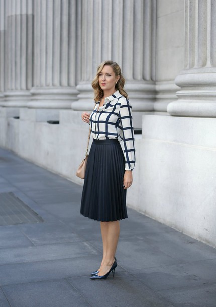 7d048d095a the classy cubicle, blogger, blouse, jewels, black skirt, pleated ...