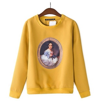 yellow doll plover cool t-shirt tees girl print teen wolf mustard printed sweater mustard sweater