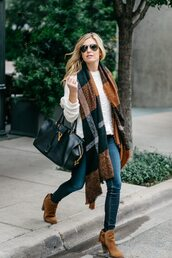 onesmallblonde,blogger,sweater,scarf,jeans,shoes,bag,sunglasses,fall outfits,handbag,ankle boots