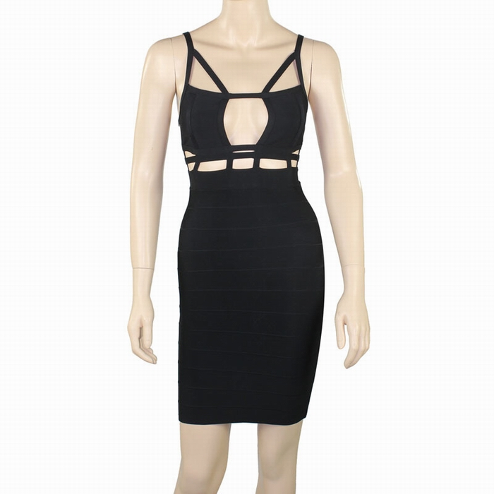 Sexy gallus design backless cut out sleeveless bandage dress for women (black,s)