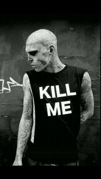 shirt rico the zombie kill me zombie black t-shirt tattoo halloween makeup