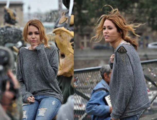 miley cyrus grey sweater