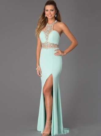 dress ball dress long dress long prom dress sleeveless dress sleeveless halter dress beaded beaded dress floor length dress jewel dress sparkly dress mint dress turquoise turquoise dress prom dress evening dress long evening dress