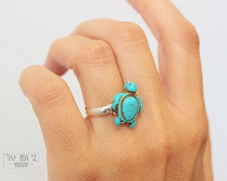 jewels ring turtle ring turquoise statement ring stacking rings turquoise ring