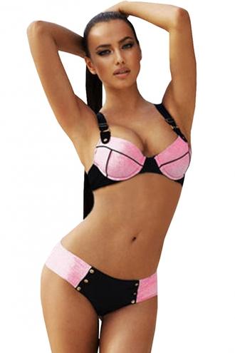 swimwear pink bikini thick straps studded thong swimsuit