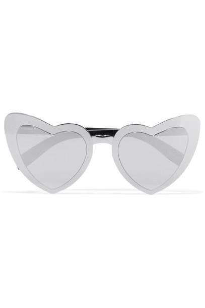 Saint Laurent heart new sunglasses silver