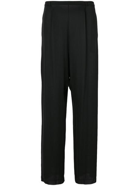 Kristensen Du Nord - drop crotch trousers - women - Silk/Spandex/Elastane - 2, Black, Silk/Spandex/Elastane