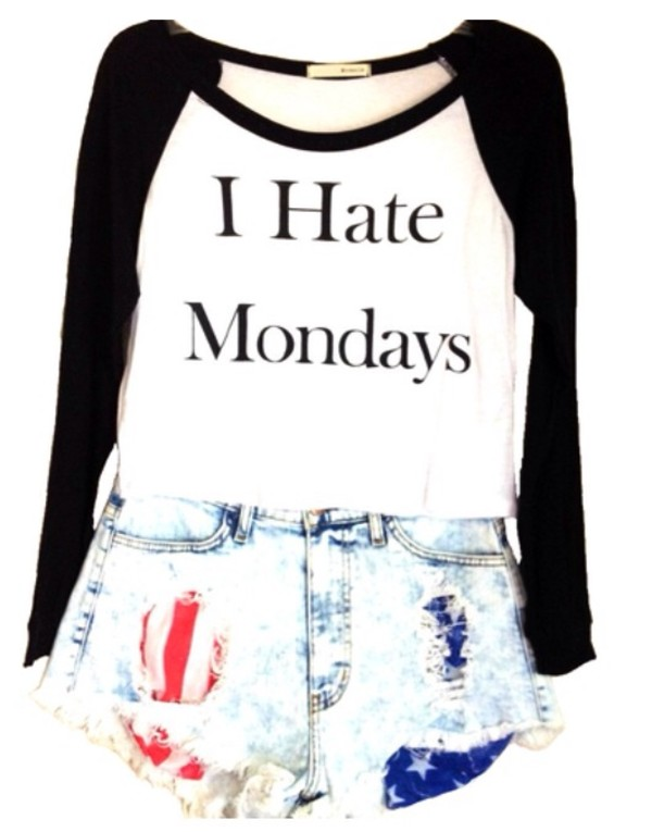 shirt t-shirt hate mondays shorts american flag shorts black white cute outfit long arms summer hot fashion clothes