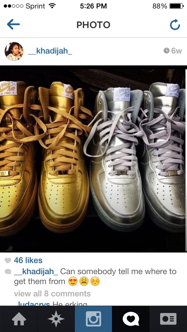 shoes nike gold silver high top sneakers